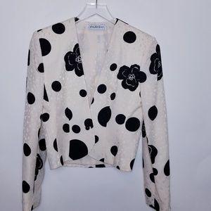 Vintage 80's Saks Cropped Silk Blazer Dots Flowers